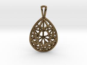 3D Printed Diamond Pear Drop Pendant  in Polished Bronze