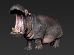 Hippo mini size (color) in Glossy Full Color Sandstone