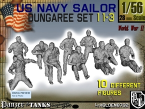1-56 US Navy Dungaree Set 11-3 in Smooth Fine Detail Plastic