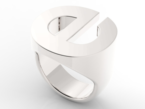 Helvetica E Ring in Fine Detail Polished Silver