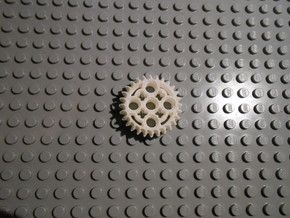 LEGO®-compatible 28-tooth bevel gear with pinhole in White Natural Versatile Plastic
