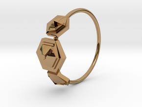 Tripla Piramide Esagono2 in Polished Brass