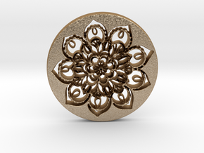 Flower Mandala Pendant in Matte Gold Steel