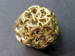 Gothic Rosette d12 in Polished Brass