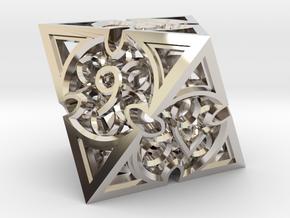 Gothic Rosette d8 in Platinum