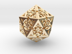 Gothic Rosette d20 in 14k Gold Plated Brass
