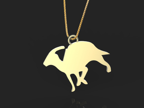 Parasaurolophus necklace Pendant in Polished Brass