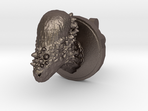 Pachycephalosaurus Head Cufflink in Polished Bronzed Silver Steel