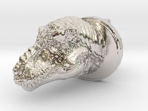 Trex Head2 Cufflink in Rhodium Plated Brass