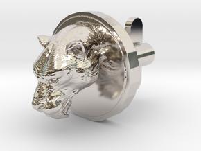 Smilodon Head Cufflink in Rhodium Plated Brass