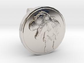 T-rex Cufflink in Rhodium Plated Brass