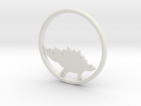 Stegosaurus necklace Pendant in White Natural Versatile Plastic