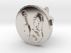 T-rex skull Cufflink in Rhodium Plated Brass