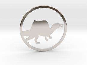 Spinosaurus necklace Pendant in Platinum
