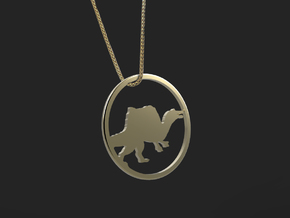 Spinosaurus necklace Pendant in 14k Gold Plated Brass