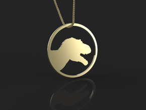Tyrannosaurus necklace Pendant in 14k Gold Plated Brass