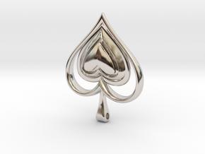 Spade Heart Pendant in Rhodium Plated Brass