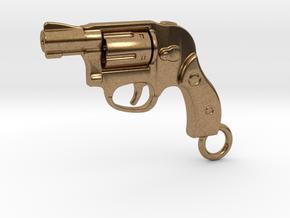 Bodyguard Gun Keychain in Natural Brass