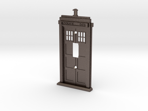 Tardis Light Switch Cover in Polished Bronzed Silver Steel