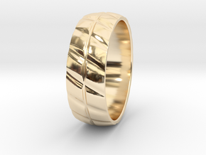 Grooved Mens' Ring in 14k Gold Plated Brass