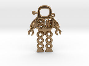 Mars Robot Pendant in Natural Brass