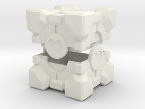 Companion Cube Box in White Natural Versatile Plastic