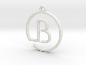 B Monogram Pendant in White Strong & Flexible
