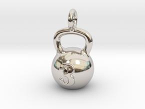 Kettlebell Tiny Little Pendant in Rhodium Plated Brass