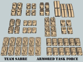 """Team Sabre"" 3mm Tracked Armor Task Force (56 Pcs) in White Natural Versatile Plastic"