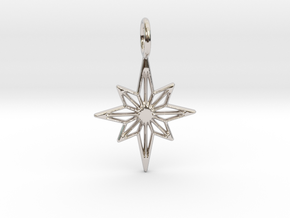 Star No.3 Pendant in Rhodium Plated Brass