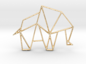 Elephant Origami Pendant and Necklace in 14K Yellow Gold