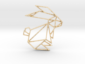 Origami Rabbit in 14k Gold Plated Brass