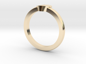 Heart Mid Finger Ring in 14k Gold Plated Brass