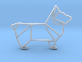 Origami Dog Pendant No.1  in Smooth Fine Detail Plastic