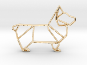 Origami Dog Pendant No.1  in 14k Gold Plated Brass