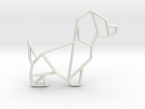 Origami Dog No.2 in White Natural Versatile Plastic