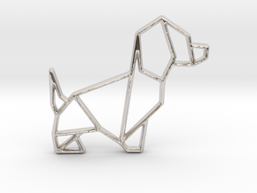 Origami Dog No.2 in Rhodium Plated Brass
