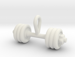 Dumbbell Tiny Tiny Little Earring in White Natural Versatile Plastic
