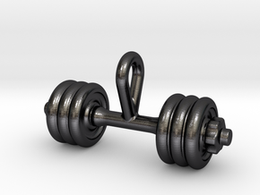 Dumbbell Tiny Tiny Little Earring in Polished and Bronzed Black Steel