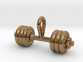 Dumbbell Tiny Tiny Little Earring in Natural Brass