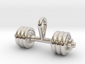 Dumbbell Tiny Tiny Little Earring in Rhodium Plated Brass