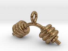 Dumbbell Bent Tiny Little Earring in Natural Brass