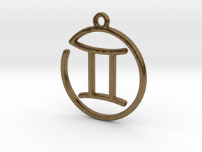 Gemini Zodiac Pendant in Natural Bronze