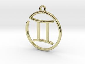 Gemini Zodiac Pendant in 18k Gold Plated Brass