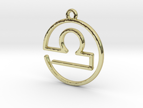 Libra Zodiac Pendant in 18k Gold Plated Brass