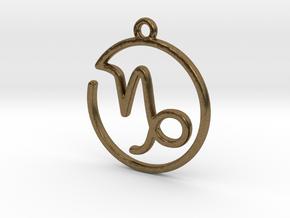 Capricorn Zodiac Pendant in Natural Bronze