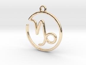 Capricorn Zodiac Pendant in 14K Yellow Gold