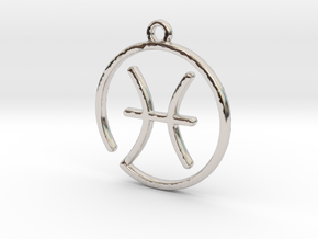 Pisces Zodiac Pendant in Rhodium Plated Brass
