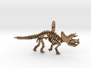 Triceratops Skeleton Pendant in Natural Brass