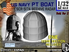 1-32 PT Boat Beehive Radar Dome in White Strong & Flexible Polished